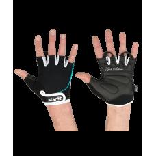Перчатки для фитнеса SU-111, черные/белые/голубые STARFIT