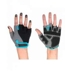 Перчатки для фитнеса SU-117, черные/серые/голубые STARFIT